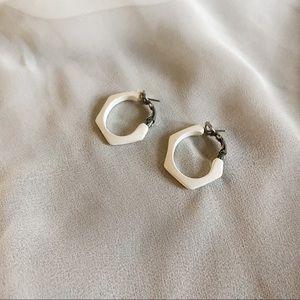 Vintage White Cream Geometric Medium Hoop Earrings
